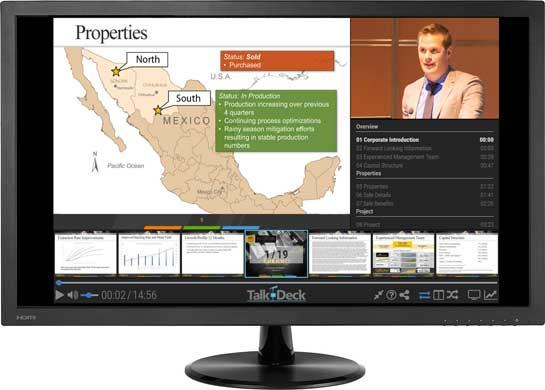 Talk-Deck Online Presentation shown on monitor