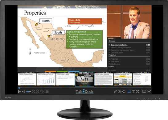 Talk-Deck presentation displayed on monitor